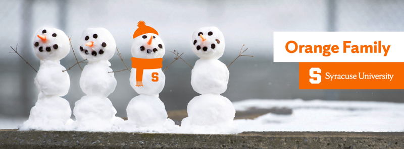 Cover photo of row of snowmen wearing Syracuse Gear with Orange Family written on it