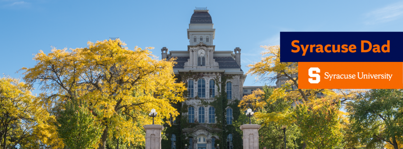 Cover photo of exterior of Hall of Languages with Syracuse Dad written on it